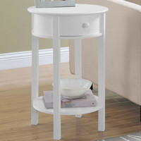 Contemporary Round End Table With Drawer Living Room Furniture White Finish New