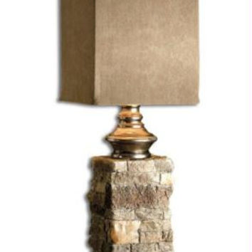 Buffet Table Lamp - Body Appears As Layered Stone In Ivory And Brown With Aluminum Accents