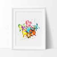 Eevee, Pokemon Go Watercolor Art Print