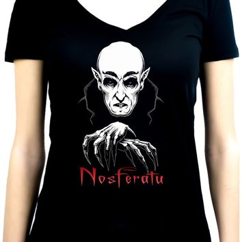 Nosferatu 1922 Vampire Count Orlok Women's V-Neck Shirt Top Dracula Gothic Alternative Clothing