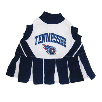 Mirage Pet Products Puppy Dog Cat Costume Tennessee Titans Sports Team Logo Cheer Leading Uniform XS