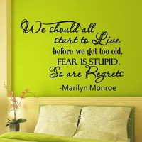 Wall Decals Quotes Marilyn Monroe We Should All Start To Live Decal Lettering Stickers Home Decor Art Mural Z794