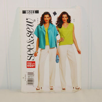 Butterick B5311 See & Sew Yes! It's Easy (c. 2009) Misses' Sizes Large and Extra Large, Misses' Jacket, Top and Pants, Summer Clothes