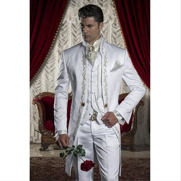 Classic Style White Embroidery Groom Tuxedos Groomsmen Men's Wedding Prom Suits Custom Made (Jacket+Pants+Vest)