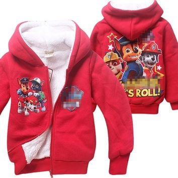 3-8 years Hooded Coat for Girls Winter Coat Jacket Cartoon Double Coral Cashmere Coat Cartoon Jacket Kids Hooded Sweatshirt Boys