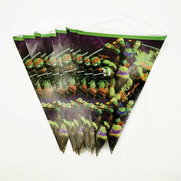 2.5m Teenage Mutant Ninja Turtle Theme Paper Flags Decoration Kid Favors Party Banners Birthday Baby Shower Event Party Supplies
