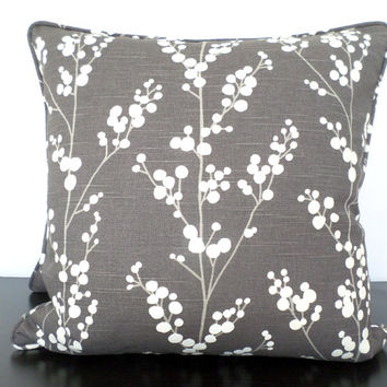 Large gray cushion cover in 20x20 for modern home decor, dark gray sofa pillow cover, grey flower pillow sham, petal cushion shades of grey