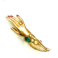 Coro Lady's Hand Brooch, 1940s, Gold Tone, Green and Clear Rhinstones