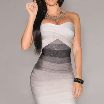 Grey Strapless Ombre Bandage Dress