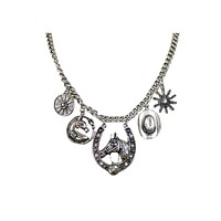 Western America Cowgirl Rodeo Girl Horse and Horseshoe Charm statement Necklace