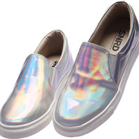 SN114 Fashion Shiny Hologram Laser Slip-Ons Sneakers Silver