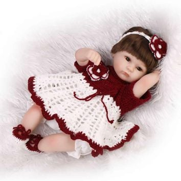 Lifelike Realistic Baby Doll Reborn Silicone 17 Inch Gentle Touch Newborn Girl Babies With Hair Kids Birthday Christmas Gift