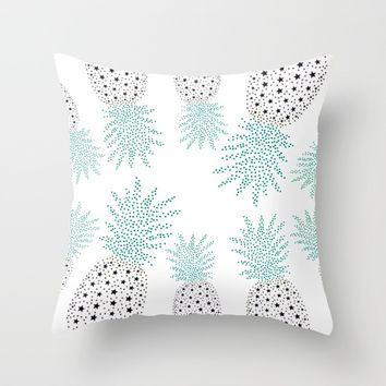 Pineapple Pattern Throw Pillow by ES Creative Designs