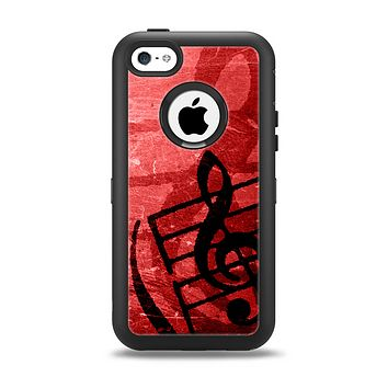 The Scratched Red Surface with Black Music Note Apple iPhone 5c Otterbox Defender Case Skin Set