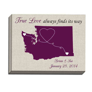 True Love Map Canvas Gallery Wrap- true love state map, wedding state custom, girlfriend fiance, gift for boyfriend, long distance map
