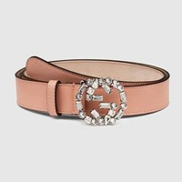 GUCCI Newest Fashionable Women Chic Diamond Crystal Buckle Leather Belt Girls Leather Belt+Gift Box  I/A