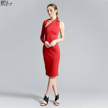 2018 New Arrivals Summer Formal Maxi One Shoulder Black Red Prom Pencil Dress Fashion Dresses Midi Dress Off Shoulder
