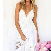 Women Summer White Lace Long Maxi Dress Backless Evening Party Dress Beach Dresses Sundress