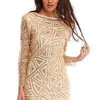 Keily Embellished Sequin Dress in Gold