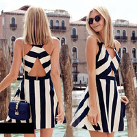 Black and White Striped Cocktail Party Dress