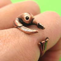 Hummingbird Bird Animal Wrap Around Ring in Copper - Sizes 4 to 9 Available