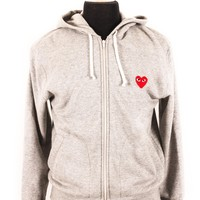 Comme des Garcons PLAY Heather Grey Heart Hoodie