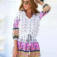 Multi Print V-Neck Half Sleeve Ruffled Bottom Mini Dress