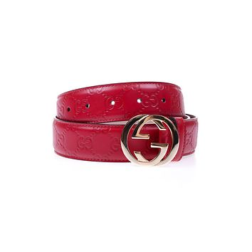 Gucci Belt % Signature Leather MADE IN ITALY Woman Reds 370543CWC1G-6433