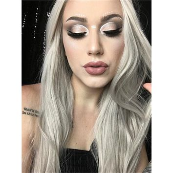 Long Ash Silver Galaxy Straight Synthetic Lace Front Wig