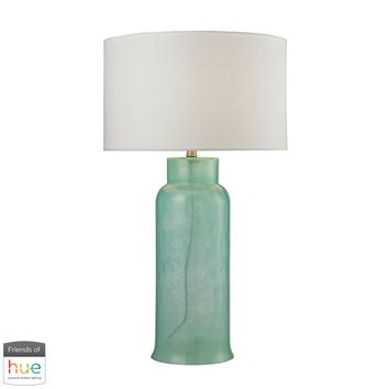 Glass Bottle Table Lamp in Seafoam Green - with Philips Hue LED Bulb/Bridge