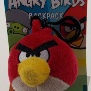"Angry Birds Backpack Zipper Clip Lot 2 Pull Red Plush 3"" Rovio Cardinal Stuffed"