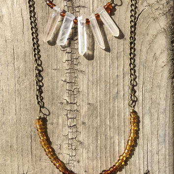 Quartz Crystal Layered Necklace // Boho Beaded Necklace // Amber Boho Necklace // bohemian necklace // rock necklace //  Boho Stone Necklace
