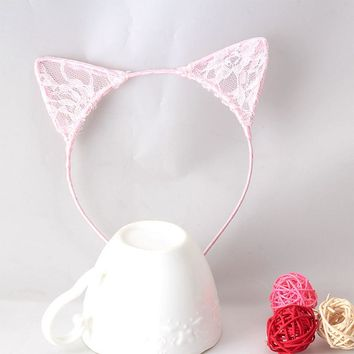 1 PC Stylish Girls Cat Ears Hair Accessories Headband Children Bbay Hair band Sexy Lace Ears Self Photo Prom Party Hair Band