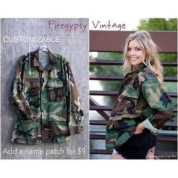 Vintage Camo Jacket 90s Military Authentic Army Issued Slouchy Grunge Button Down All Sizes