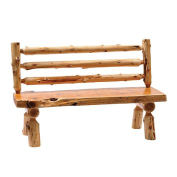 "Traditional Cedar 60"" Log Bench with Back"