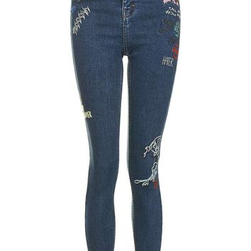 MOTO Scribble Embroidered Jamie Jeans | Topshop