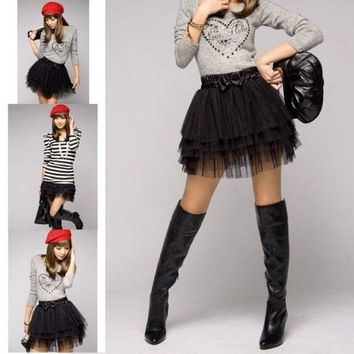 LMFUG3 New Fashion Cute Girl's Full Tutu Tulle Tier 5 Layers Skirts (color: black) = 1946105348