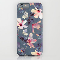 Butterflies and Hibiscus Flowers - a painted pattern iPhone & iPod Case by Micklyn