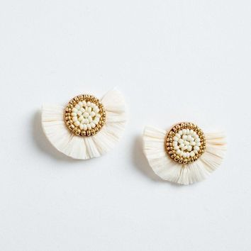 Kylie Straw Fan Earrings