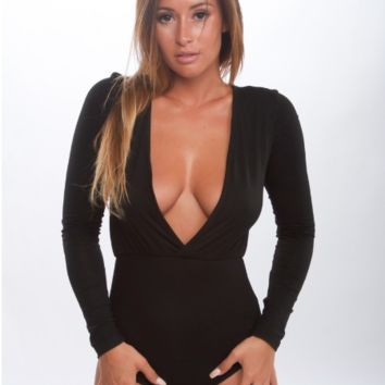 Long Sleeve Deep V Neck Bodysuit