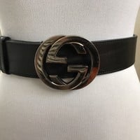 AUTH Gucci Belt * Black Silver * 85 * 34 * Excellent Condition * Mens Womens
