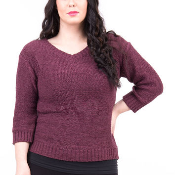 Wine Loose Knit Jumper in Plus Sizes-Wine-UK 22/24 - EU 50/52