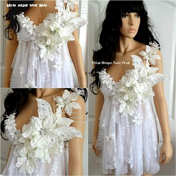 White Winter Flower Fairy Babydoll Dress Bra Costume