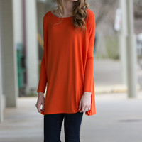 The Perfect Piko Tunic Top-Orange