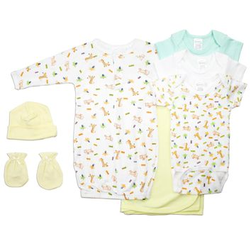 Bambini Neutral Newborn Baby 7 Pc Layette Baby Shower Gift Set  - Made in USA