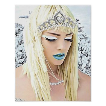Winter Snow Queen Fantasy Abstract Painting Poster