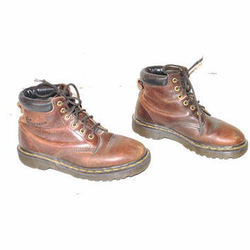 size 6.5 vintage DR MARTEN boots 80s 90s GRUNGE brown leather lace up doc martens dm hiking boots