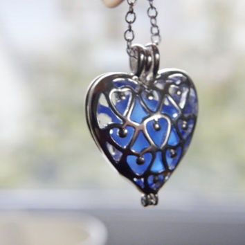 Sea glass heart necklace, beach glass locket, blue sea glass, heart necklace, Valentine necklace, heart locket, filigree locket