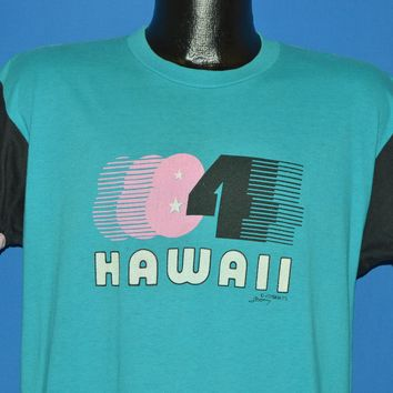 80s Hawaii 1984 Blue Roll Up Sleeve t-shirt Large