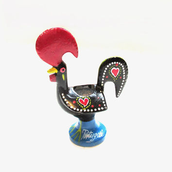 Vintage Toothpick Holder, Toleware Painted Metal PORTUGAL Rooster